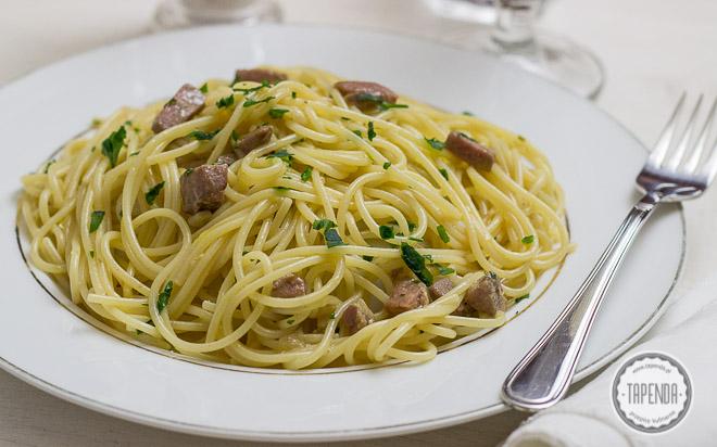 Spaghetti Carbonara z tuńczykiem