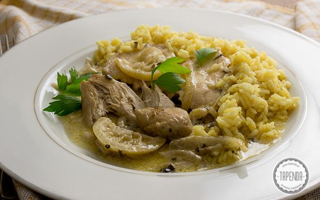Kurczak w sosie śmietankowym z ryżem curry