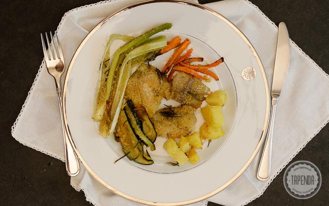 Pieczony mintaj z warzywami
